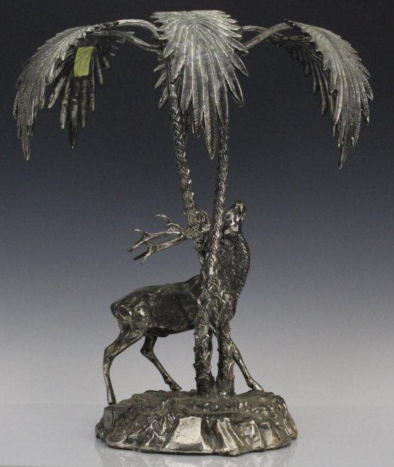Valenti Silvered Bronze Deer Figural Centerpiece - 6