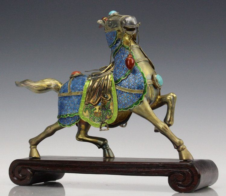 Chinese Gilt Silver Enameled Horse Statue