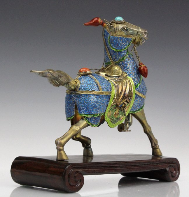 Chinese Gilt Silver Enameled Horse Statue - 2