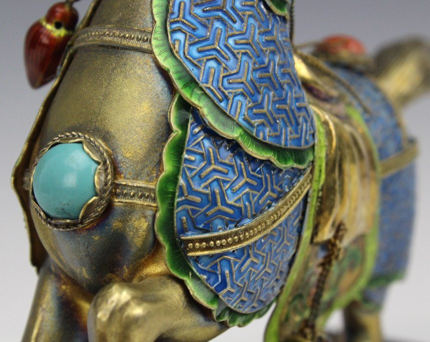 Chinese Gilt Silver Enameled Horse Statue - 3