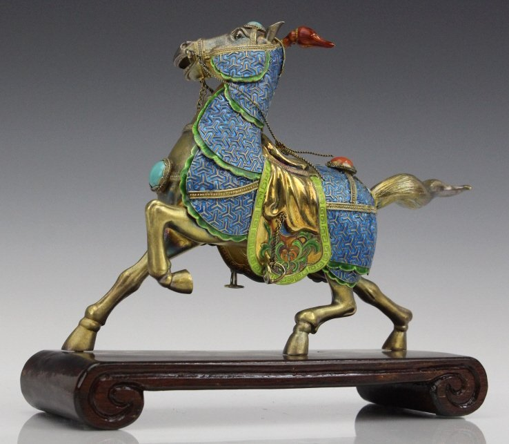 Chinese Gilt Silver Enameled Horse Statue - 4