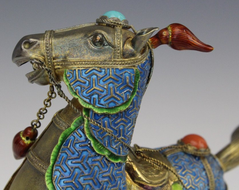 Chinese Gilt Silver Enameled Horse Statue - 5