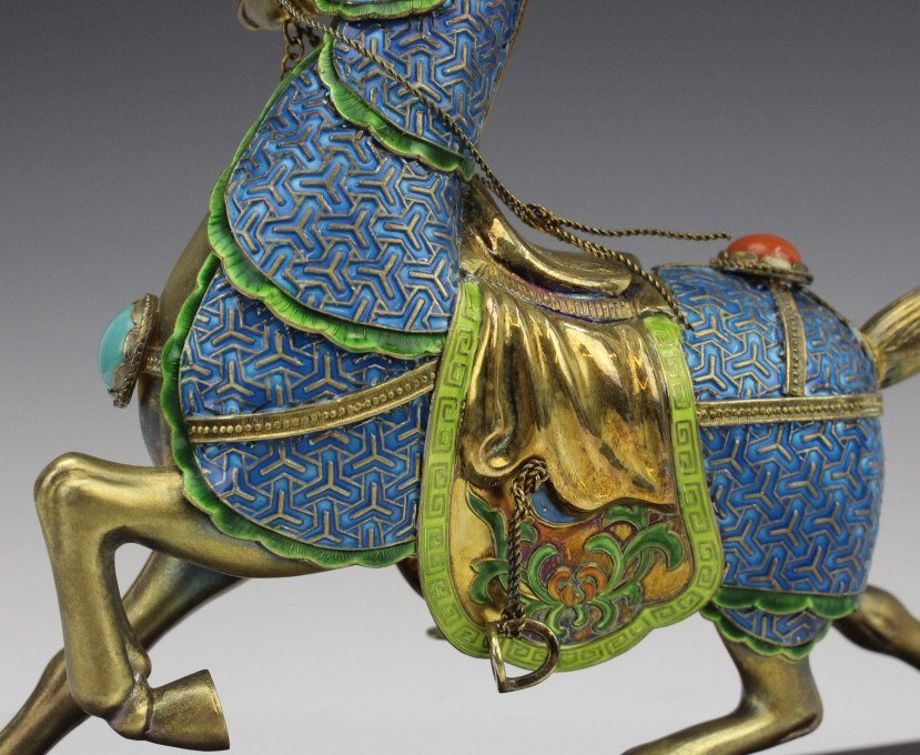 Chinese Gilt Silver Enameled Horse Statue - 6