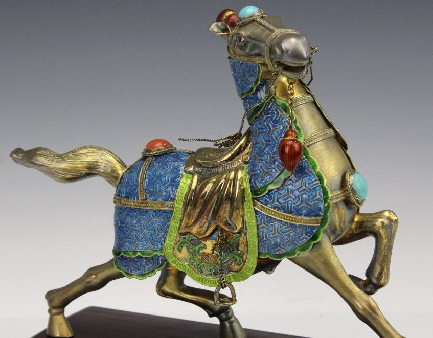 Chinese Gilt Silver Enameled Horse Statue - 7