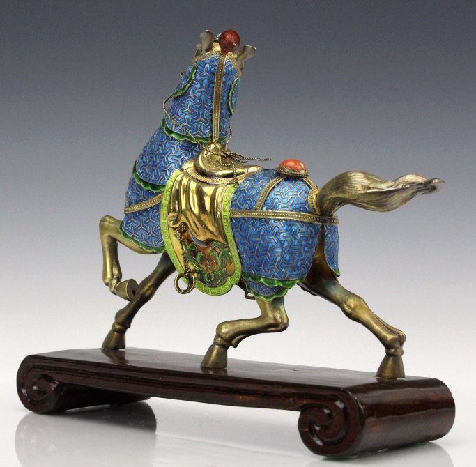 Chinese Gilt Silver Enameled Horse Statue - 8