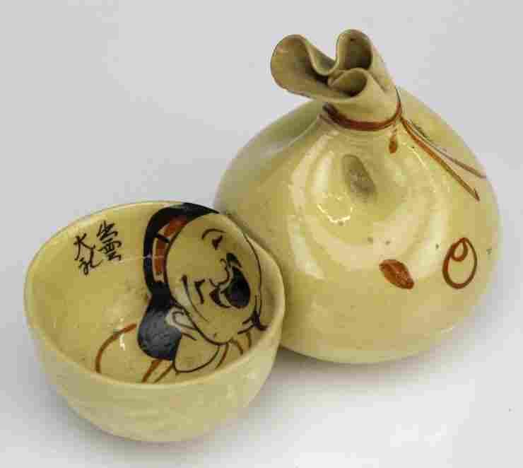 Vintage Japanese Art Pottery Suiteki Water Dropper