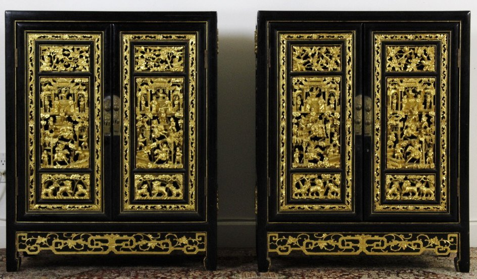 Chinese Export Black Lacquer Wood Cabinet Pair