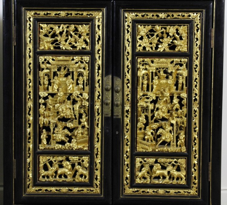 Chinese Export Black Lacquer Wood Cabinet Pair - 2
