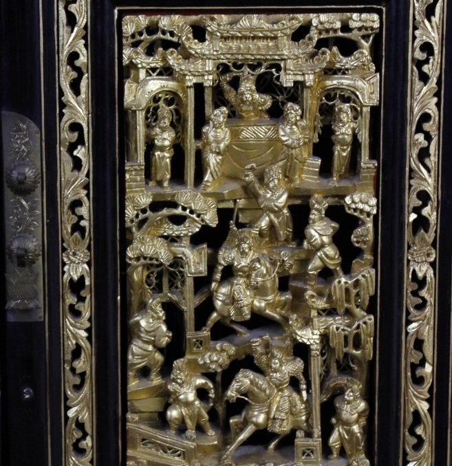 Chinese Export Black Lacquer Wood Cabinet Pair - 3