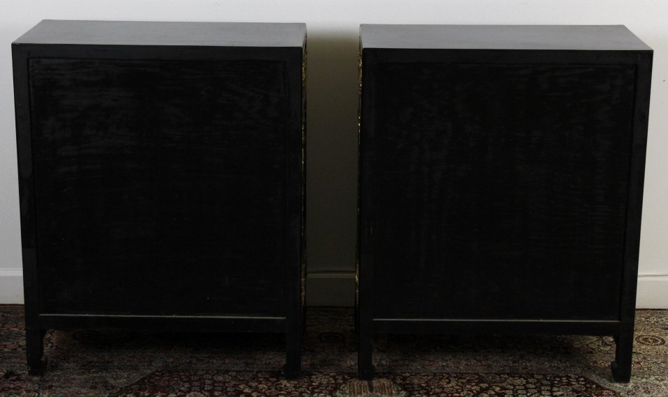 Chinese Export Black Lacquer Wood Cabinet Pair - 5