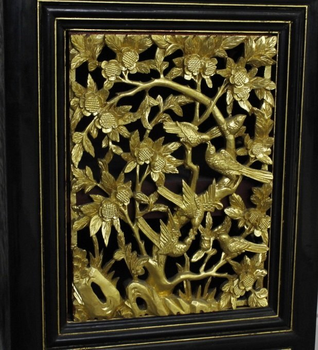 Chinese Export Black Lacquer Wood Cabinet Pair - 7