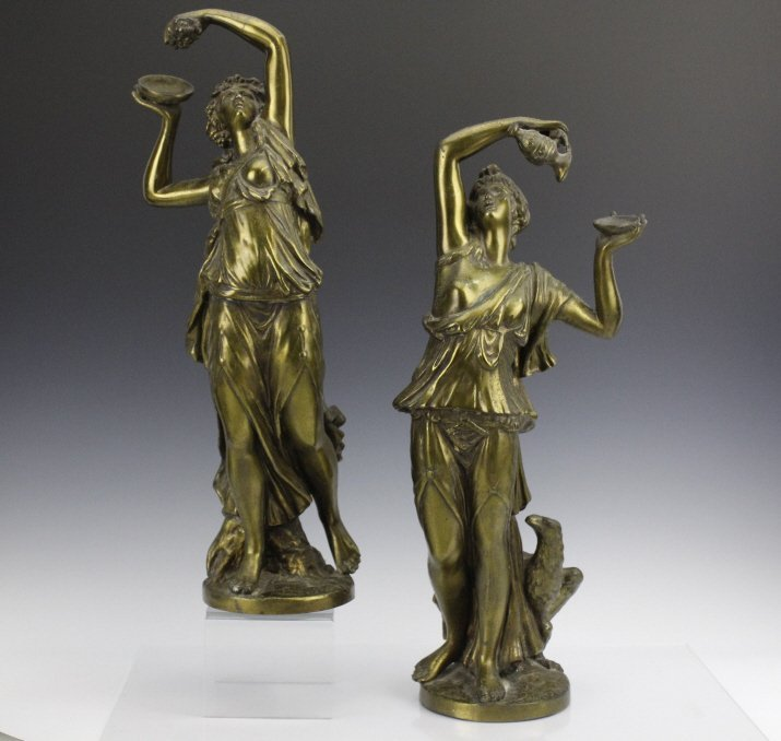 Pair Neoclassical Style Women Figural Sculptures