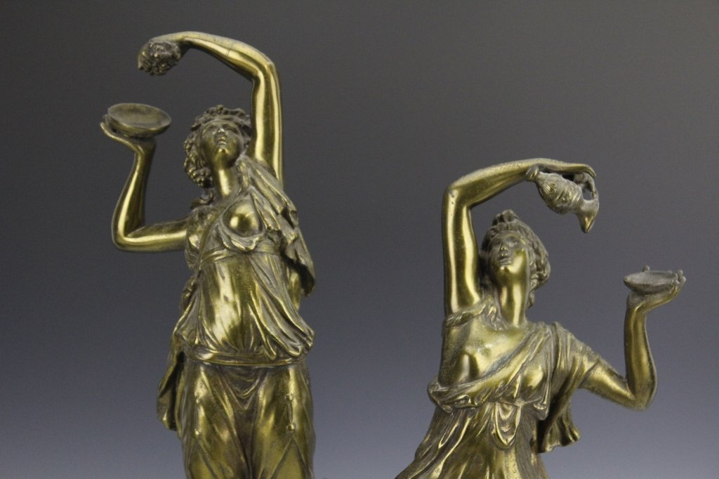 Pair Neoclassical Style Women Figural Sculptures - 2