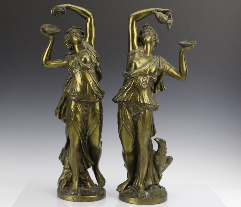 Pair Neoclassical Style Women Figural Sculptures - 3