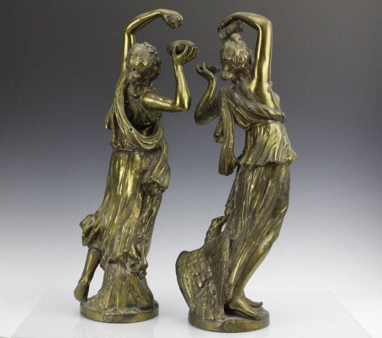 Pair Neoclassical Style Women Figural Sculptures - 5
