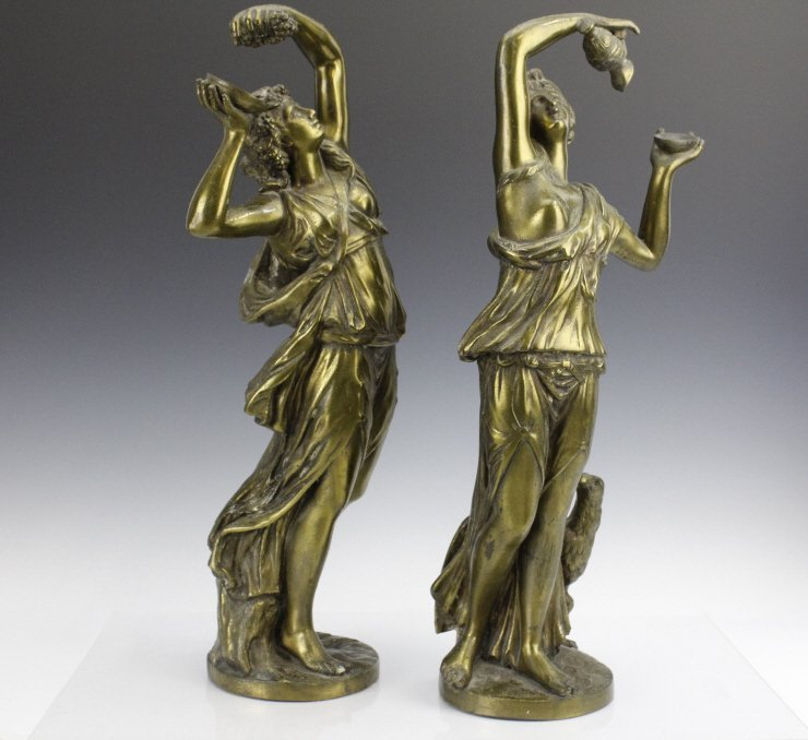 Pair Neoclassical Style Women Figural Sculptures - 9