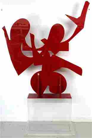 "LARGE Modern Abstract Red Acrylic SIGNED 57"" Sculpture"