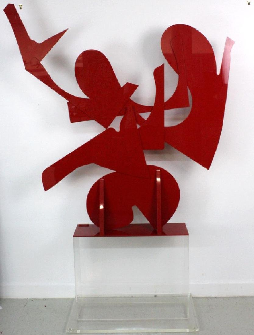 "LARGE Modern Abstract Red Acrylic SIGNED 57"" Sculpture - 2"