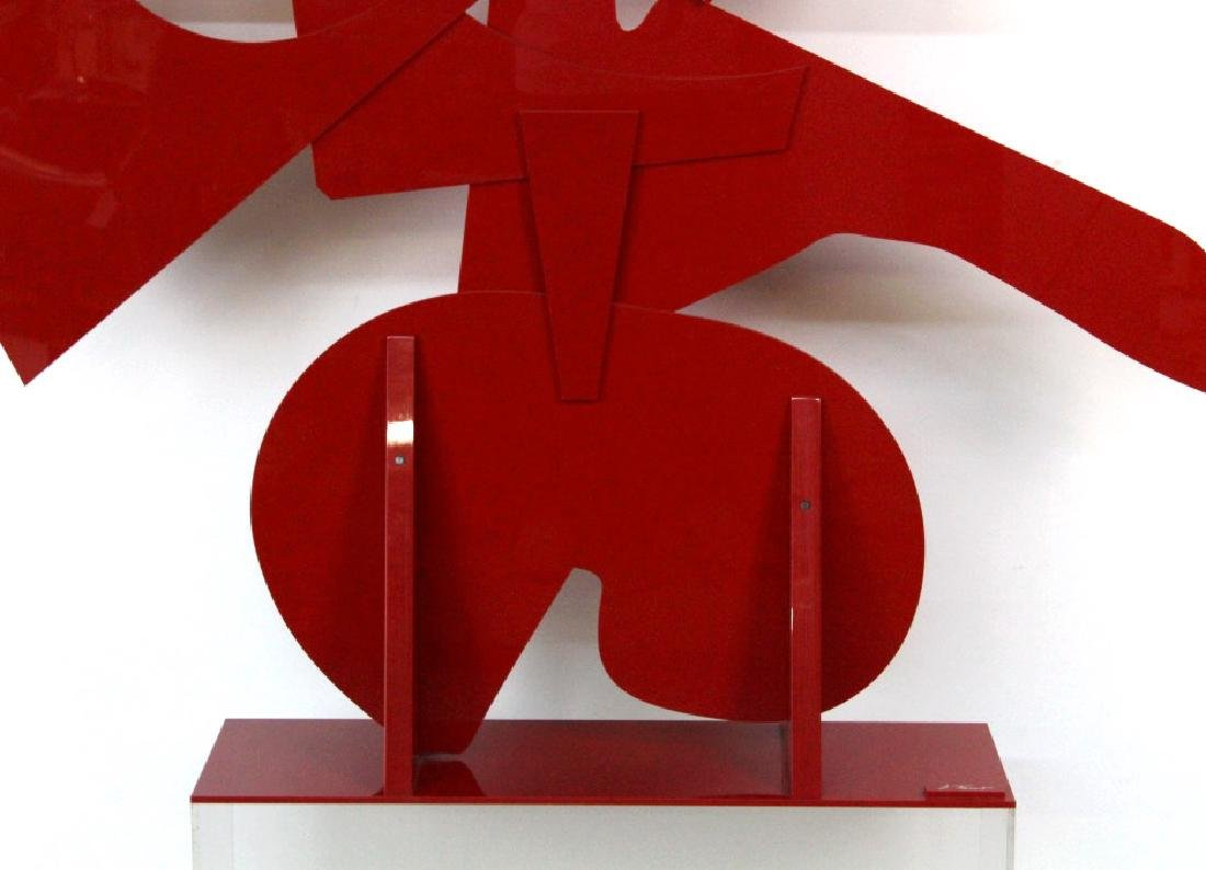 "LARGE Modern Abstract Red Acrylic SIGNED 57"" Sculpture - 4"