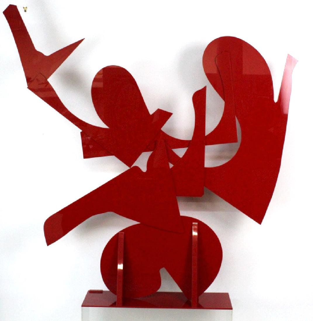 """LARGE Modern Abstract Red Acrylic SIGNED 57"""" Sculpture - 7"""
