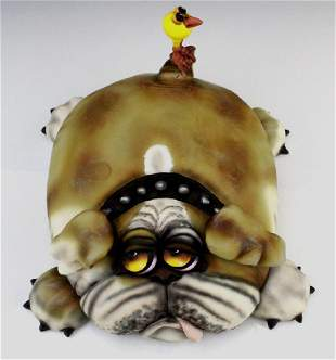 TODD WARNER Baby's First Step Bulldog Dog Art Sculpture