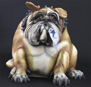 "Signed TODD WARNER Bulldog Dog Postman 18"" LE Sculpture"