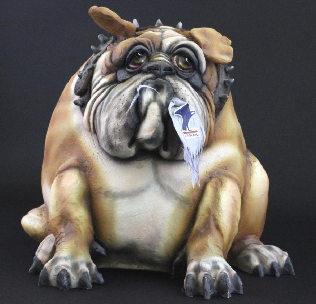 "Signed TODD WARNER Bulldog Dog Postman 18"" LE Sculpture"