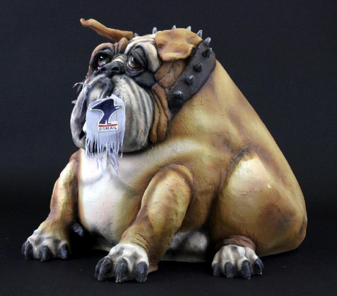"Signed TODD WARNER Bulldog Dog Postman 18"" LE Sculpture - 2"