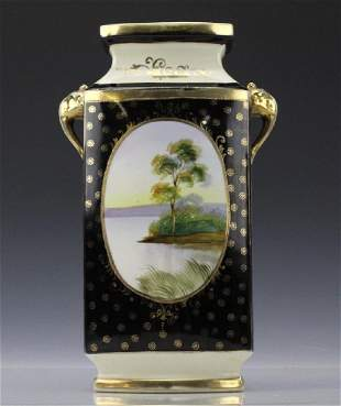 Rectangular Nippon Porcelain Vase Farmhouse River Scene
