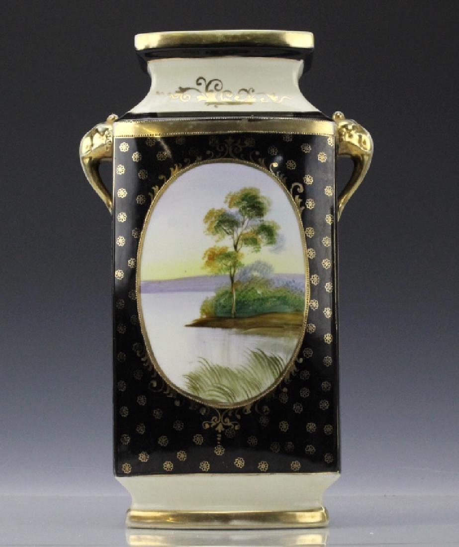 Rectangular Nippon Porcelain Vase Farmhouse River Scene