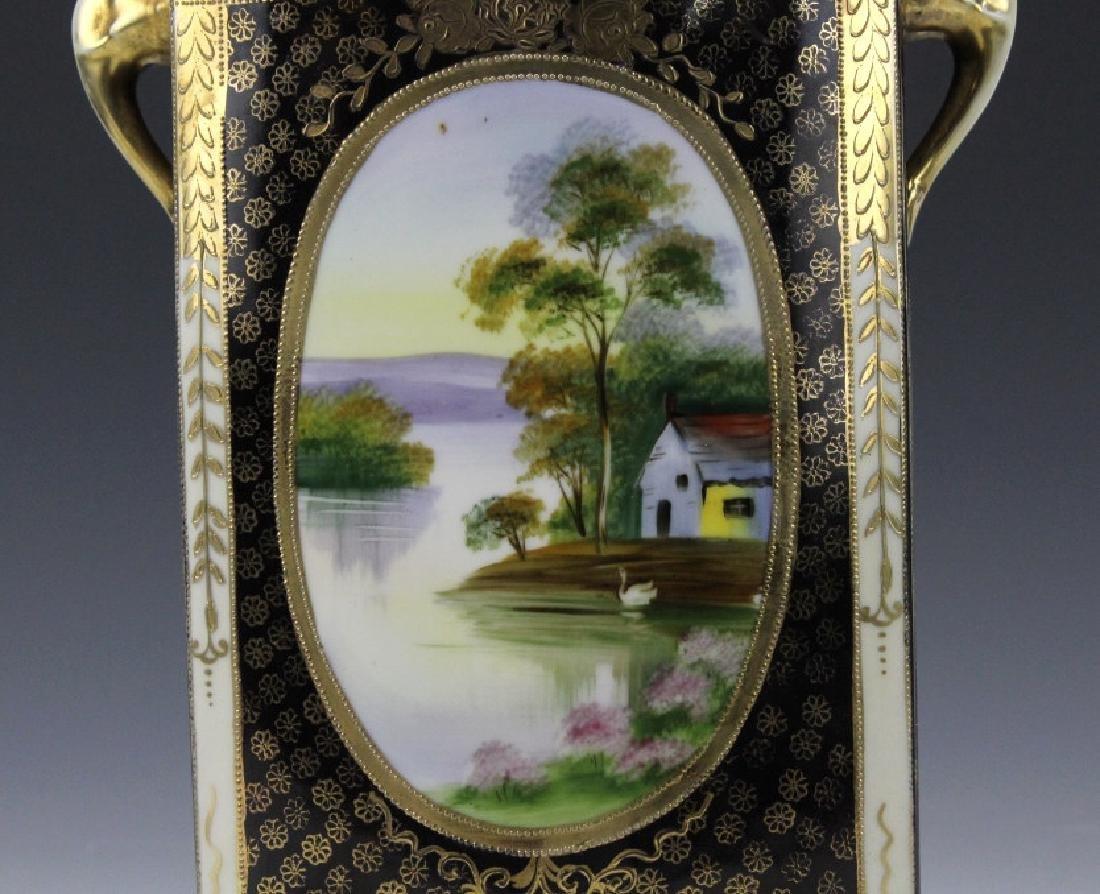 Rectangular Nippon Porcelain Vase Farmhouse River Scene - 3
