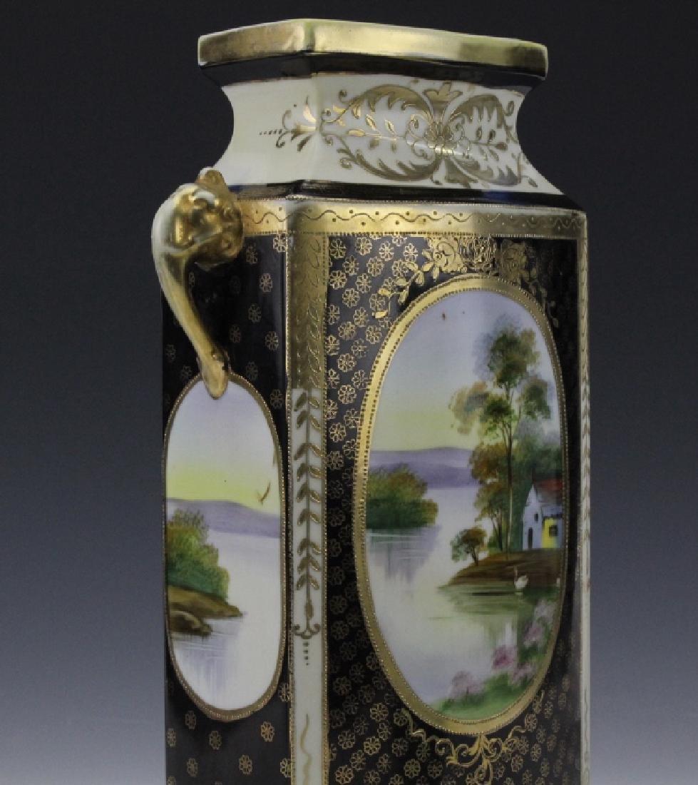 Rectangular Nippon Porcelain Vase Farmhouse River Scene - 4