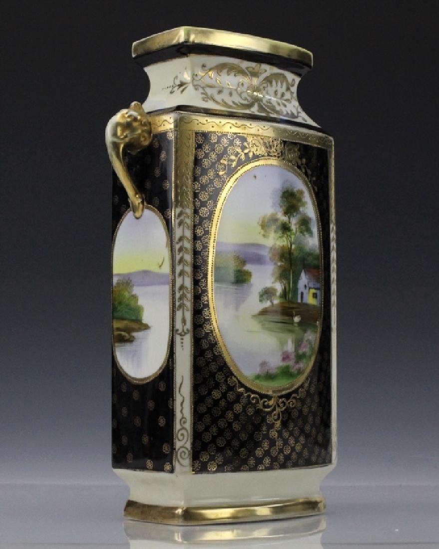 Rectangular Nippon Porcelain Vase Farmhouse River Scene - 5