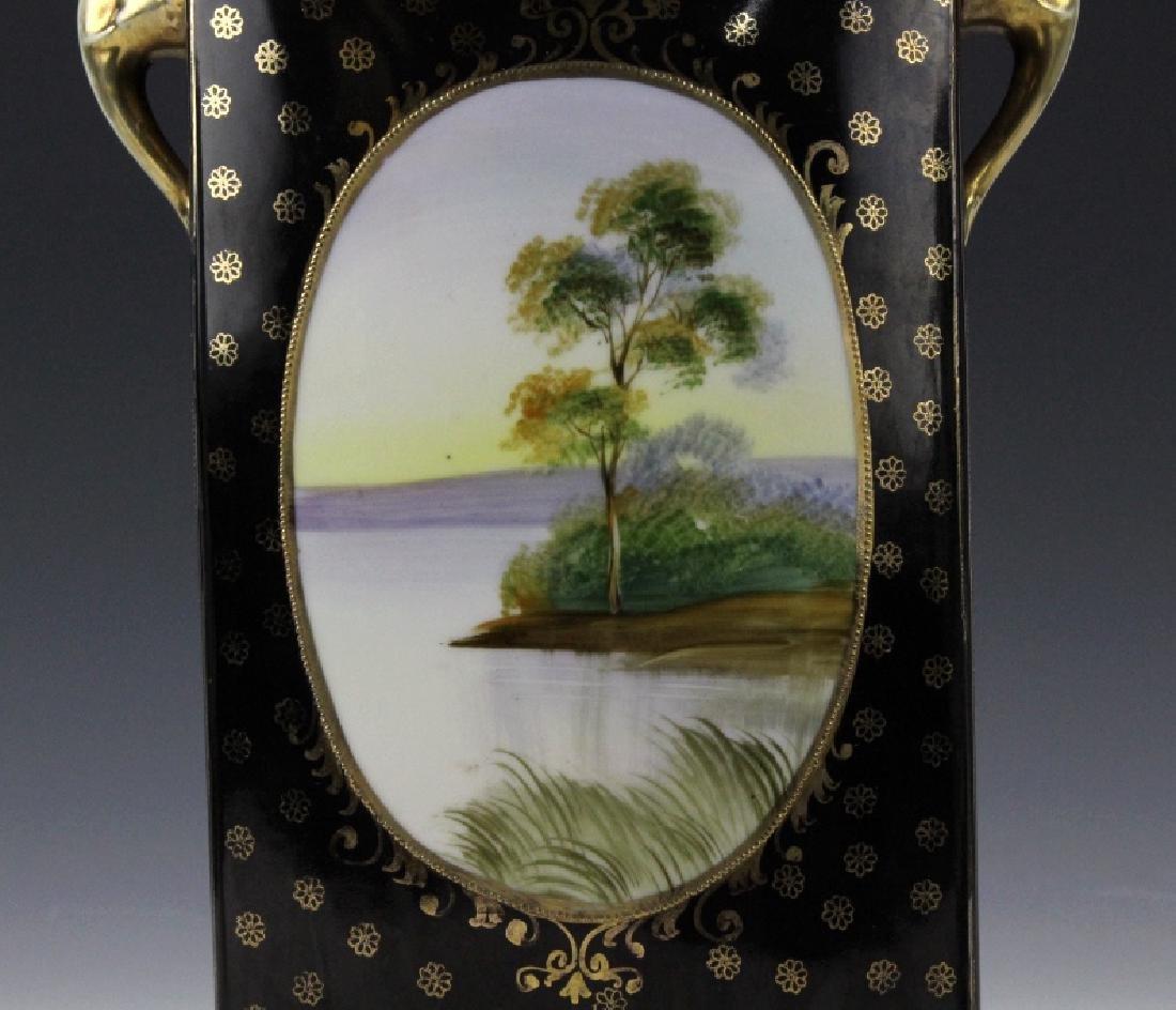 Rectangular Nippon Porcelain Vase Farmhouse River Scene - 6