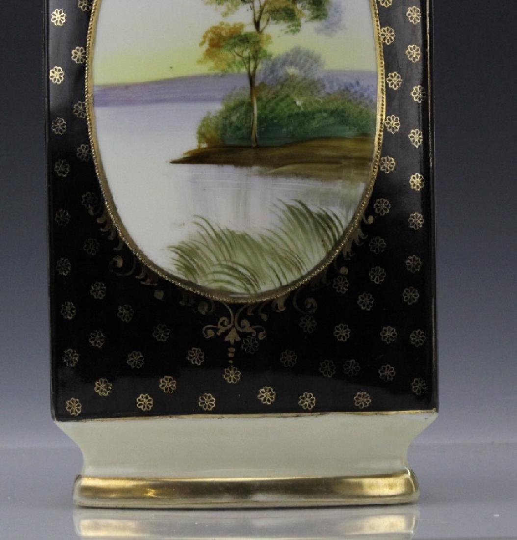 Rectangular Nippon Porcelain Vase Farmhouse River Scene - 7