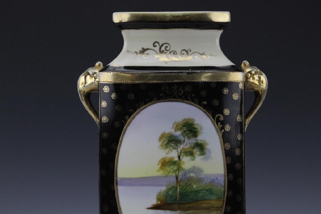 Rectangular Nippon Porcelain Vase Farmhouse River Scene - 8