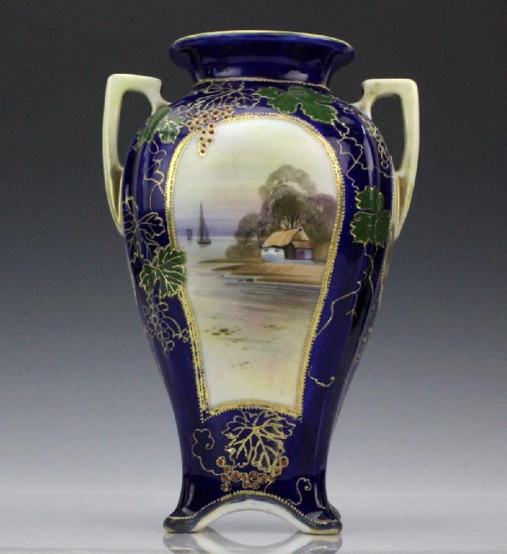 Nippon Porcelain Hand Painted Water Country Scene Vase