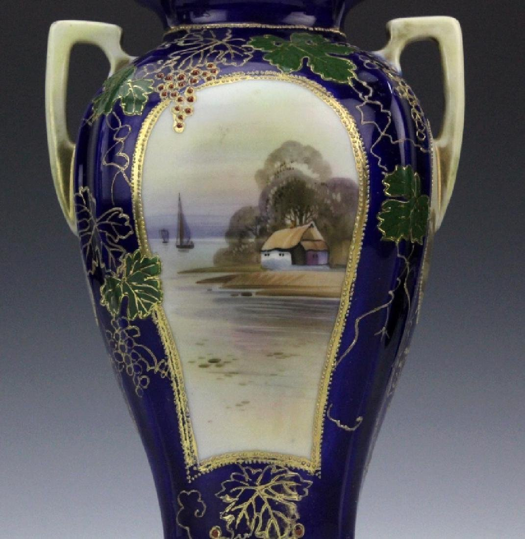 Nippon Porcelain Hand Painted Water Country Scene Vase - 2