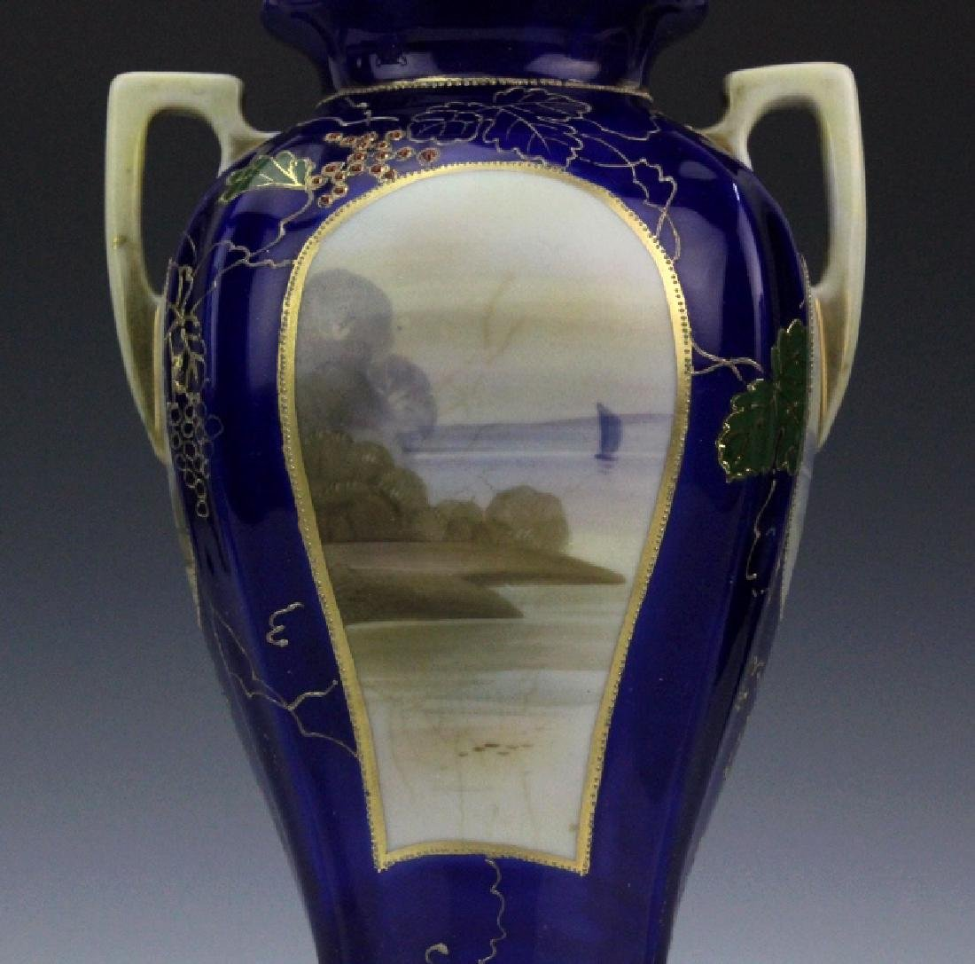 Nippon Porcelain Hand Painted Water Country Scene Vase - 4