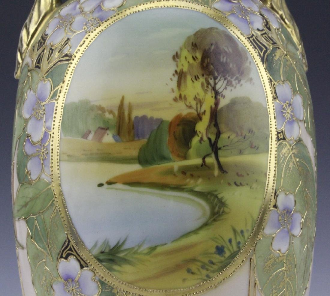 Antique Nippon Vase w/ Two Painted River Scenes - 3