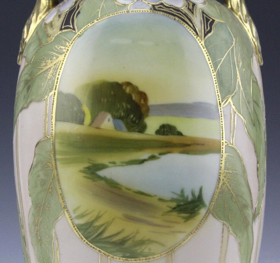 Antique Nippon Vase w/ Two Painted River Scenes - 5