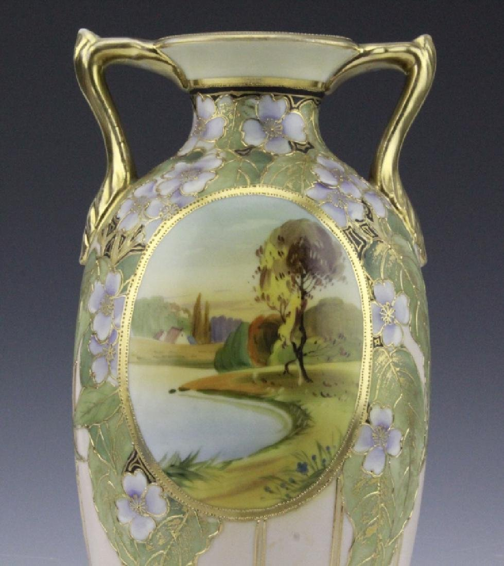 Antique Nippon Vase w/ Two Painted River Scenes - 8