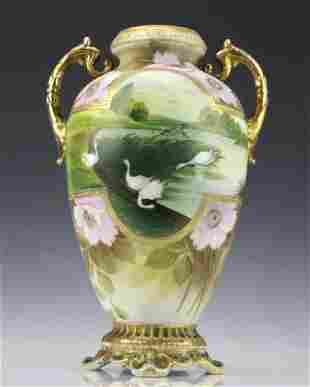 Fine Nippon Decorated Footed Landscape Porcelain Vase