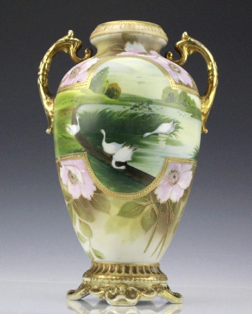 Fine Nippon Decorated Footed Landscape Porcelain Vase