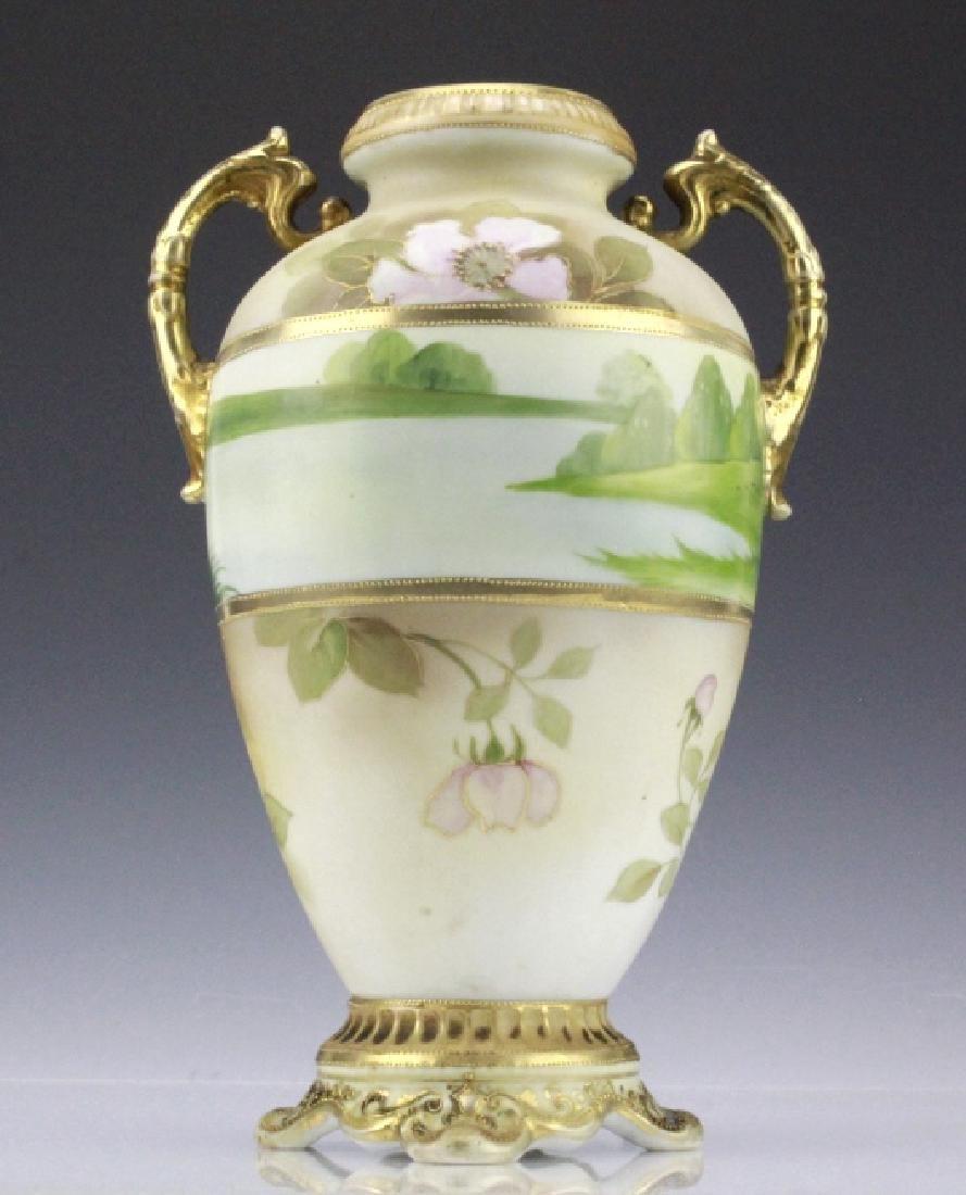Fine Nippon Decorated Footed Landscape Porcelain Vase - 2