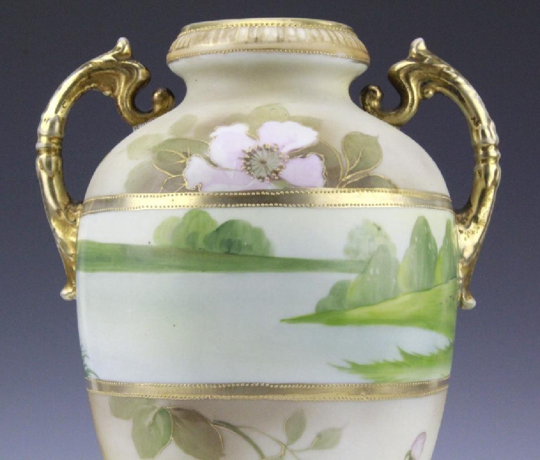 Fine Nippon Decorated Footed Landscape Porcelain Vase - 4