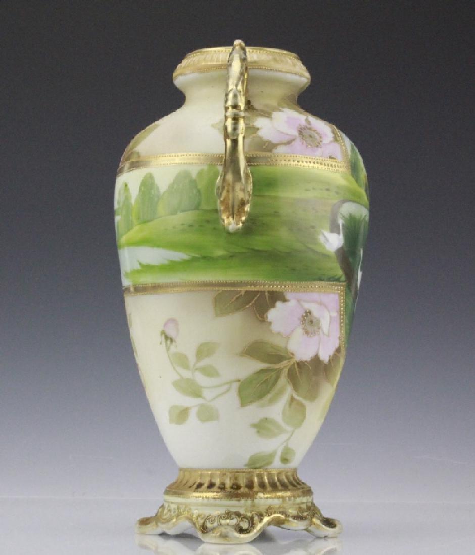 Fine Nippon Decorated Footed Landscape Porcelain Vase - 5