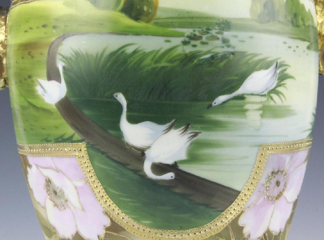 Fine Nippon Decorated Footed Landscape Porcelain Vase - 6