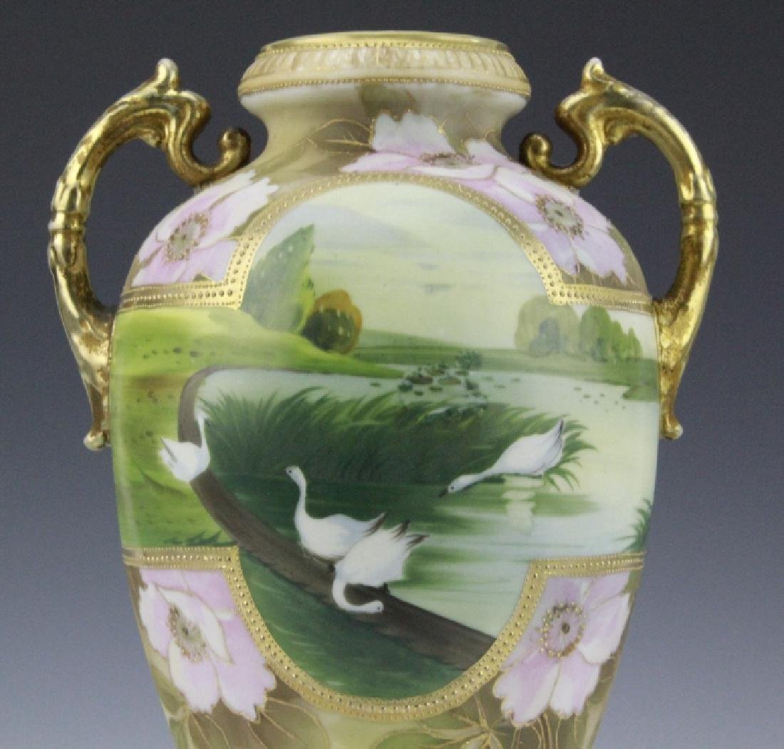 Fine Nippon Decorated Footed Landscape Porcelain Vase - 8