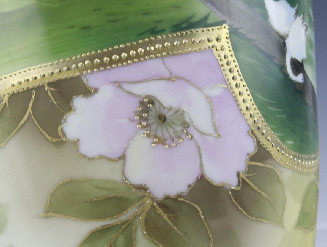 Fine Nippon Decorated Footed Landscape Porcelain Vase - 9